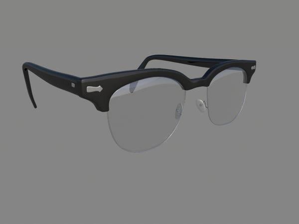 glasses horn rimmed 3d model
