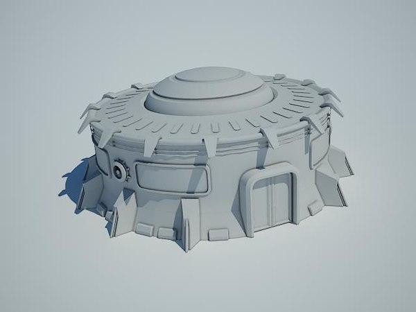 futuristic sci fi building 3d ma