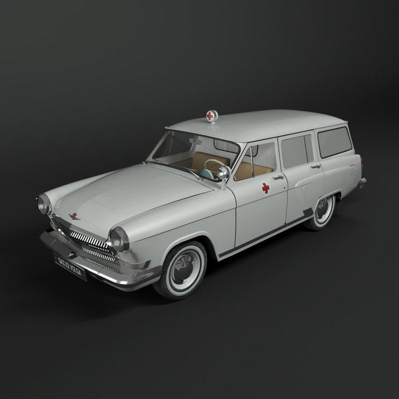 gaz-22 volga ambulance car 3d model