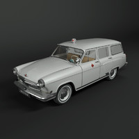 gaz-22 volga ambulance car 3d model