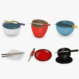 bowls chopsticks asian 3d max