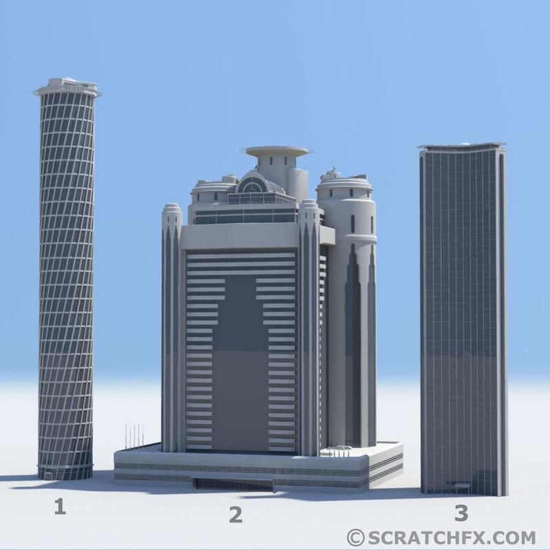 skyscrapers 1 2 3 3d model