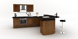 fitted kitchen bar curved 3d lwo