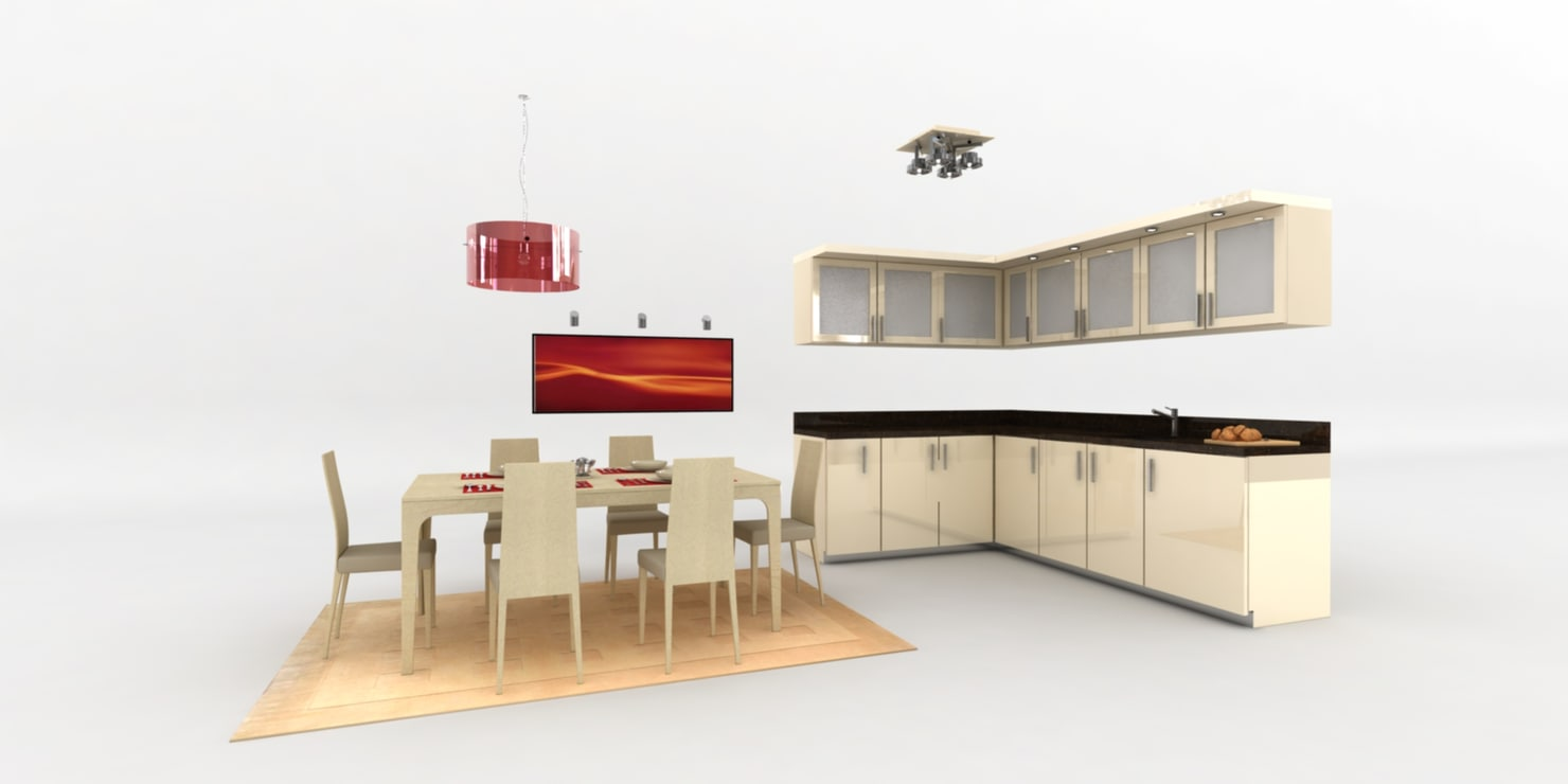 3d model of classic kitchen dining table
