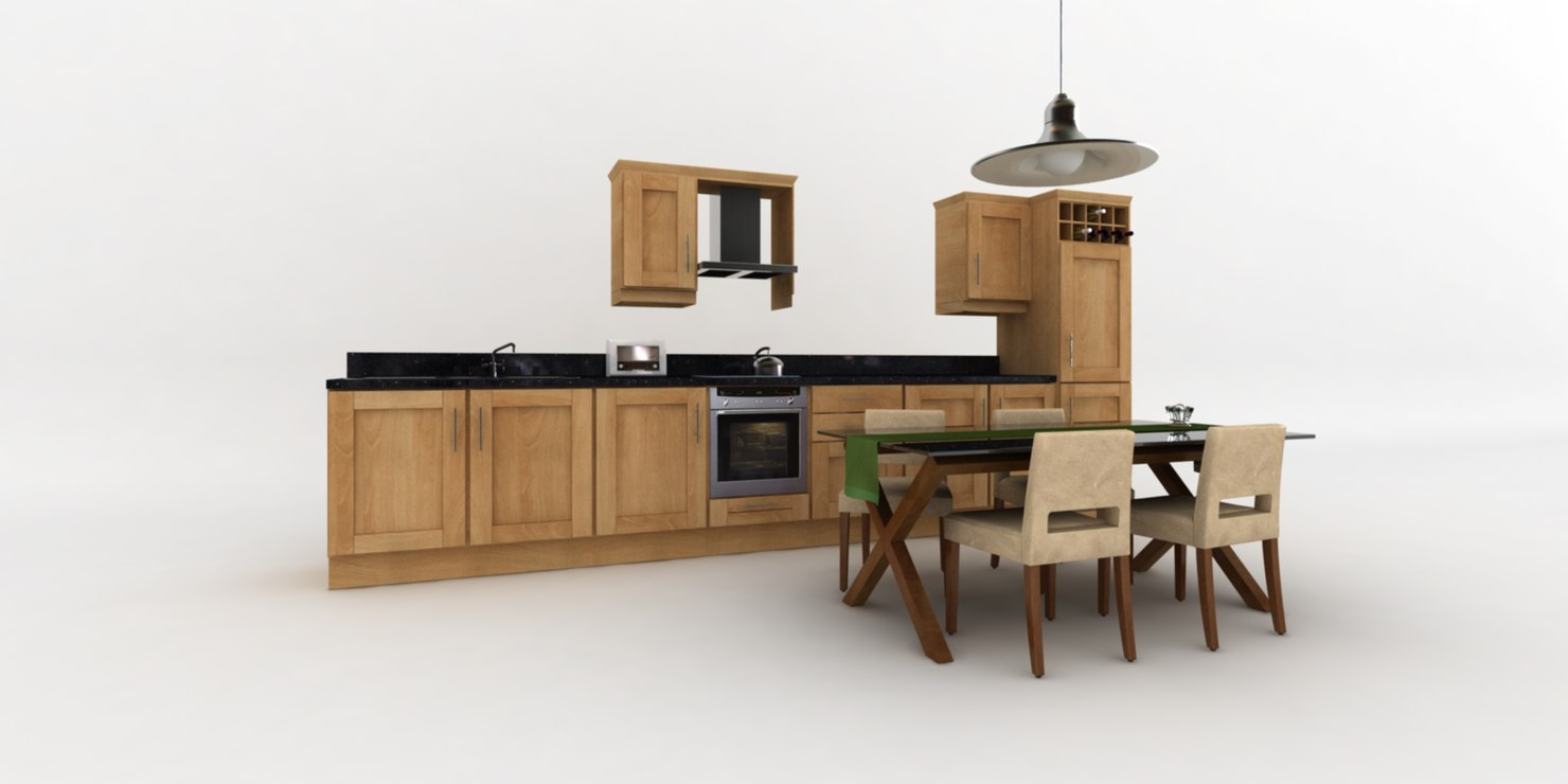 fitted kitchen dining table 3d max