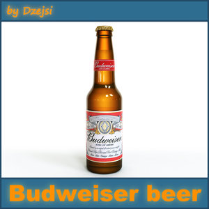 3d budweiser beer bottle