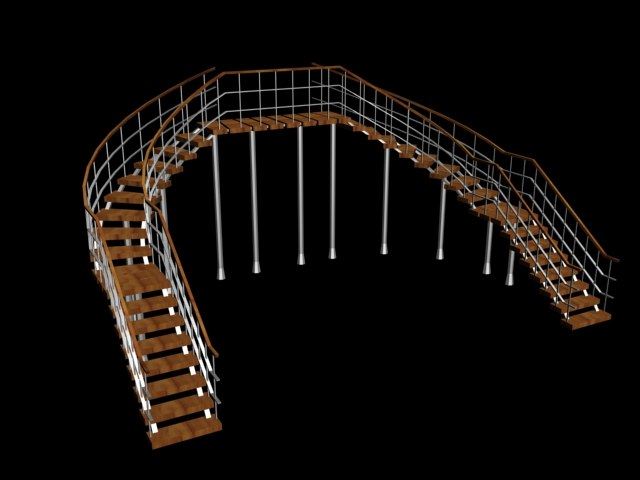 3d staircase spiral double