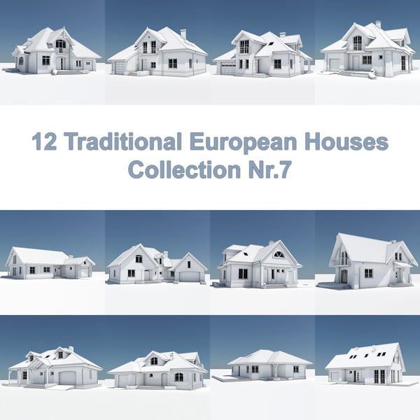 12 traditional european houses 3d model