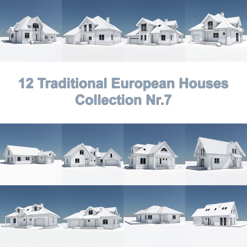 12 traditional european houses 3d model