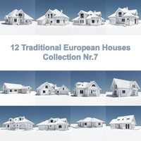 3d model 12 traditional european houses