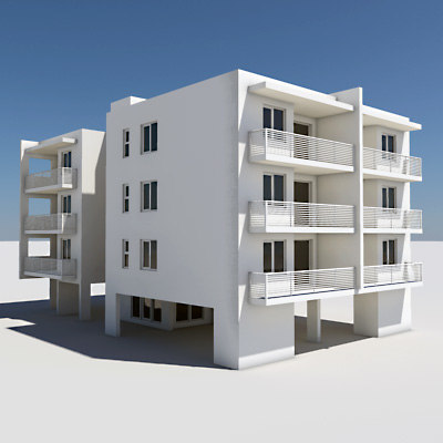 Apartment building 3d model for The model apartment