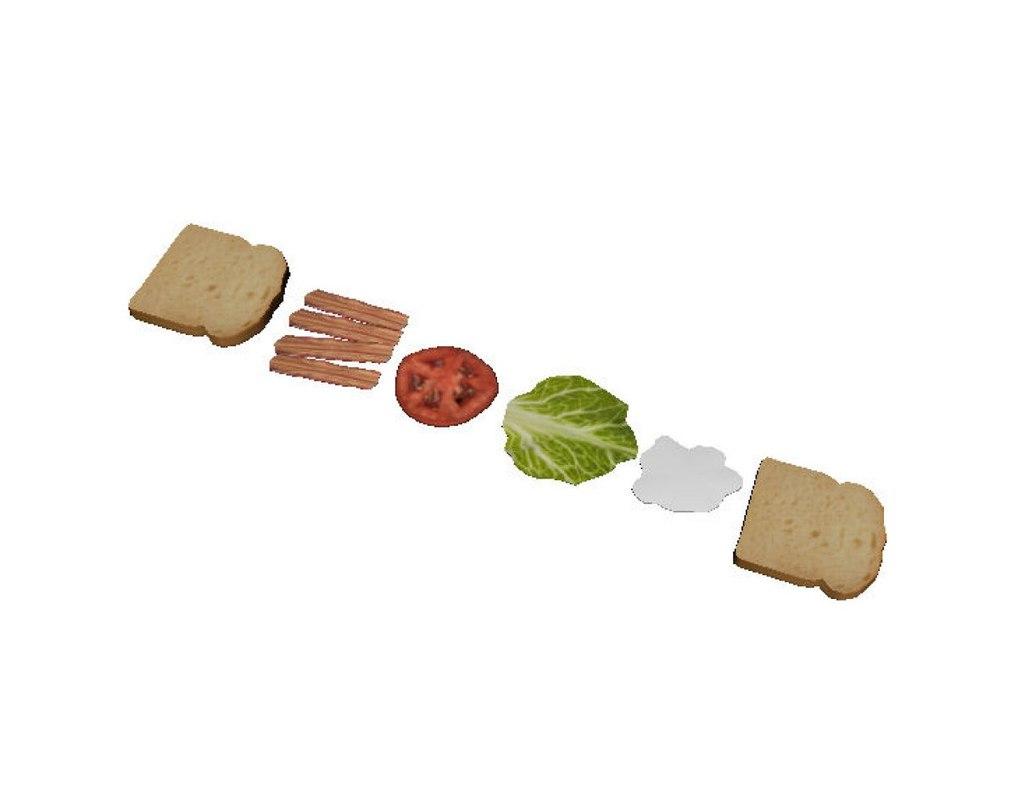 bacon lettuce tomato sandwich 3d 3ds