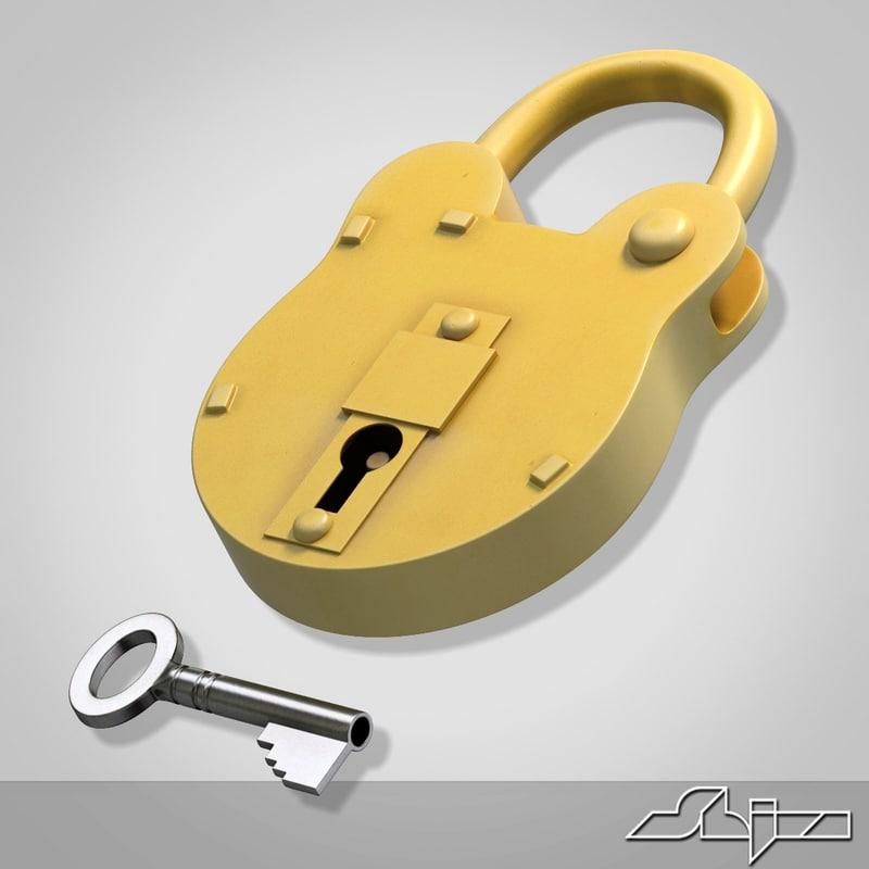 3d lock padlock key