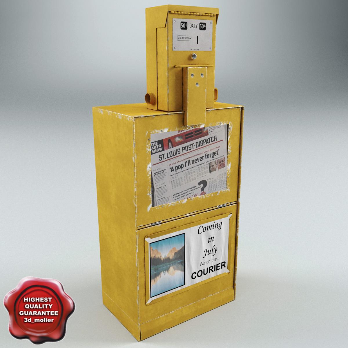 3d model newspaper street dispenser