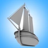 3d model old wooden ship