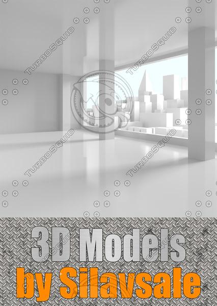 3d view downtown window scene model