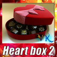 Heart box 2 + 8 chocolates. High detailed.