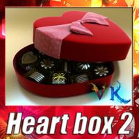 Heart box 2 + 8 chocolates. High detailed.