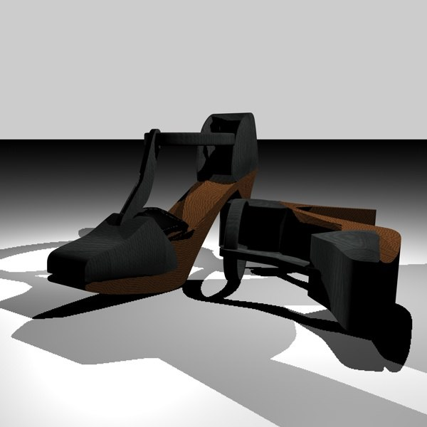c4d open heel shoes