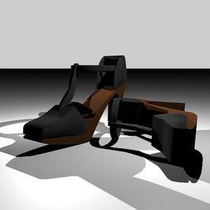 c4d open heel shoes