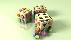 plastic shape sorter box 3d model