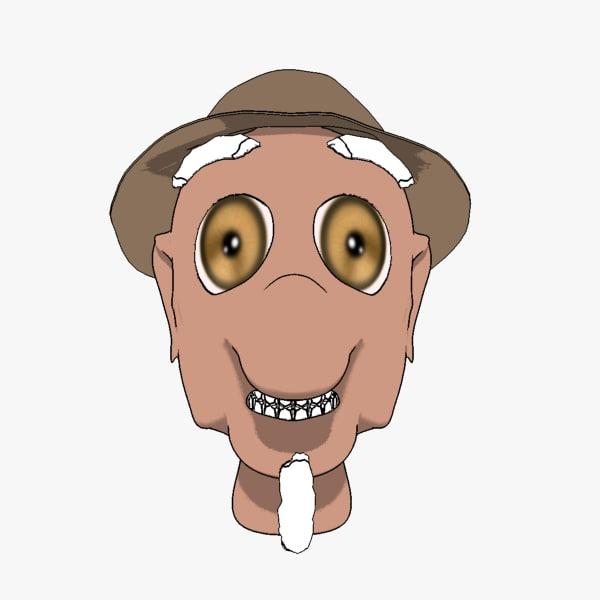 maya funny old man head cartoon