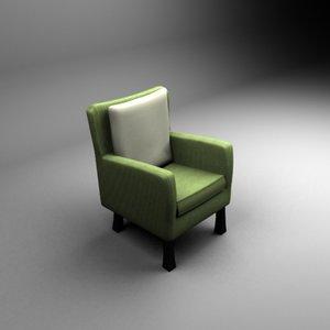 straw green chair 3d model