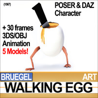 Walking Egg Character Poser Daz Animation
