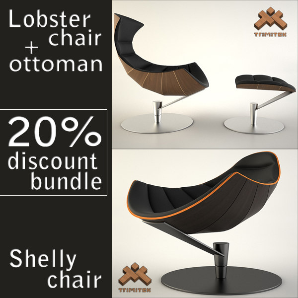 lobster chair ottoman shelly 3d 3ds