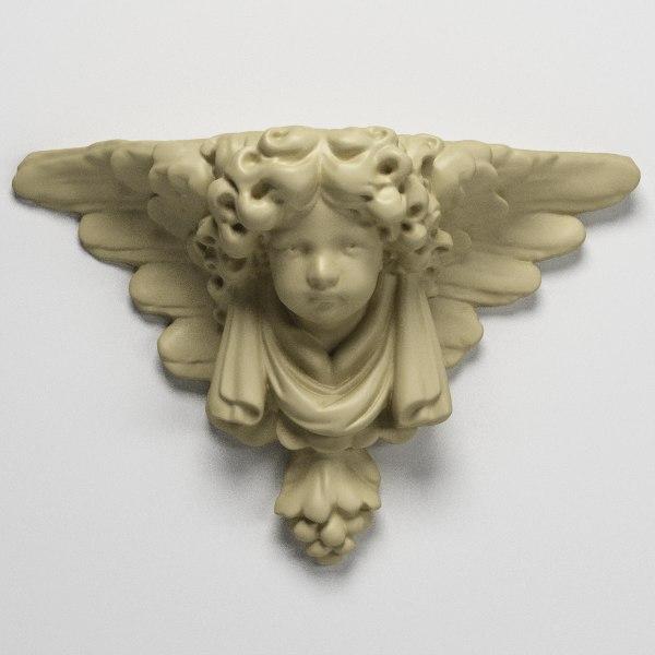 stone pedestal angel 3d obj