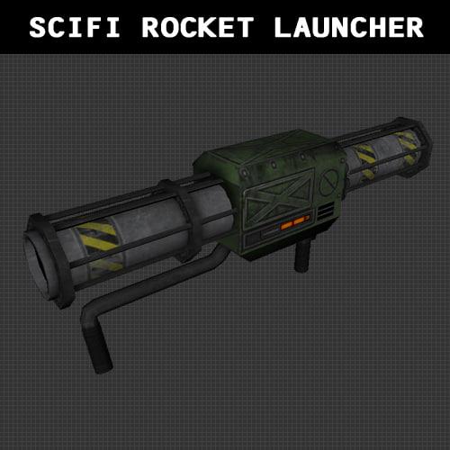 free obj model scifi rocket launcher weapon