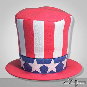 3d model american patriot cylinder hat
