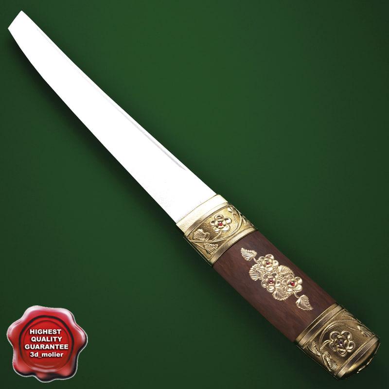 3d tanto samurai sword
