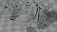 basic various drink glass 3d 3ds
