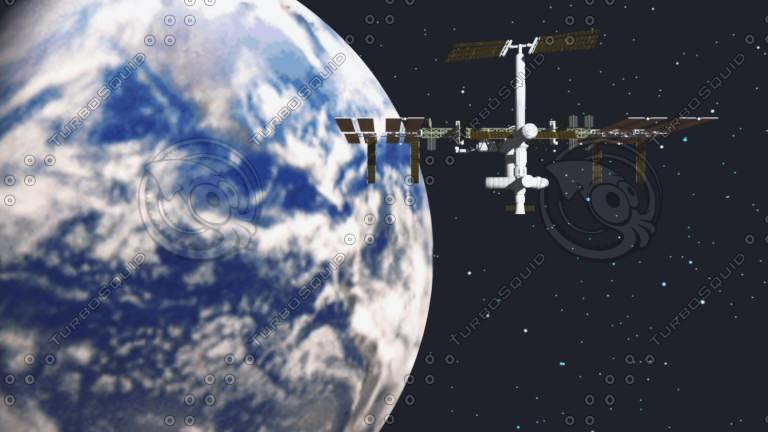 iss station scene earth 3d model