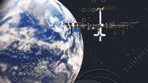 iss station scene earth 3d model