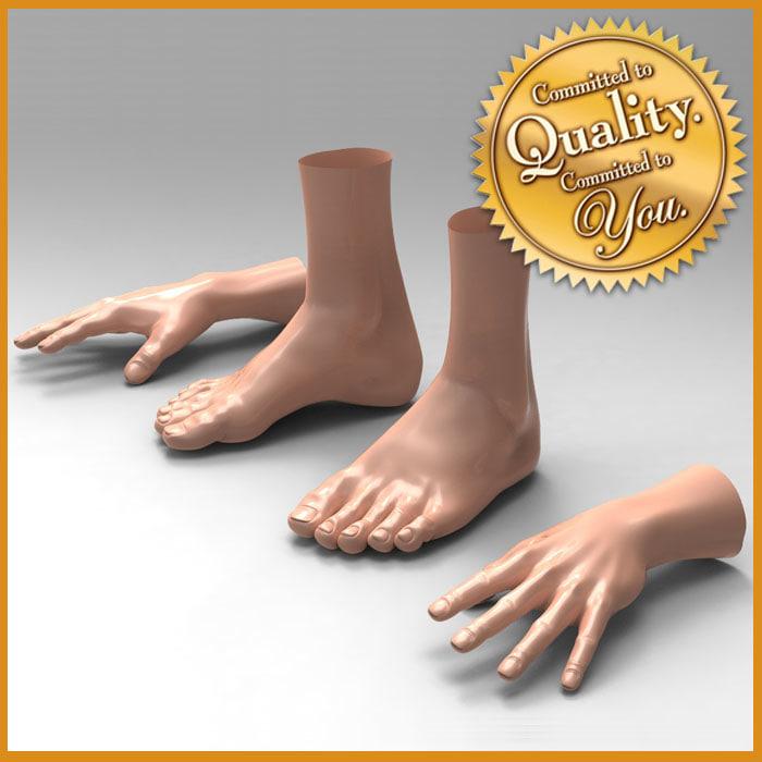 3d human male feet hand model