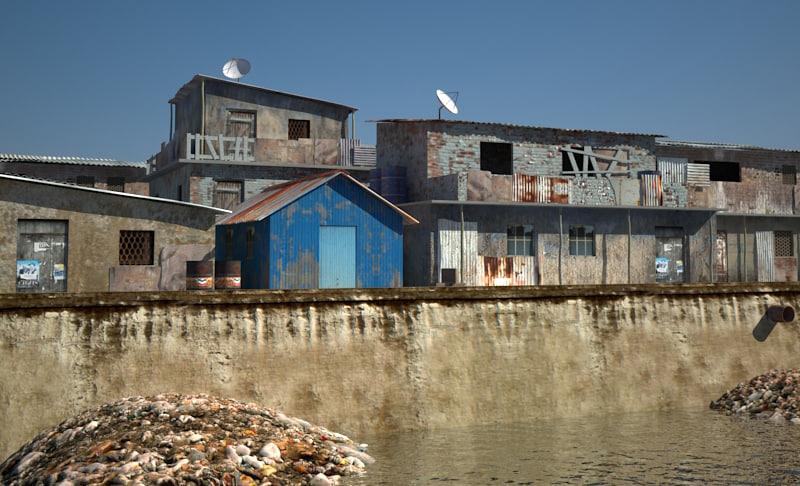3d slum house model