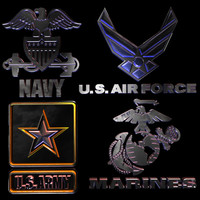 3d model armed forces logos