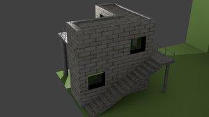 3d model modern house leaved
