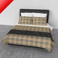 3d model queen bed comforter
