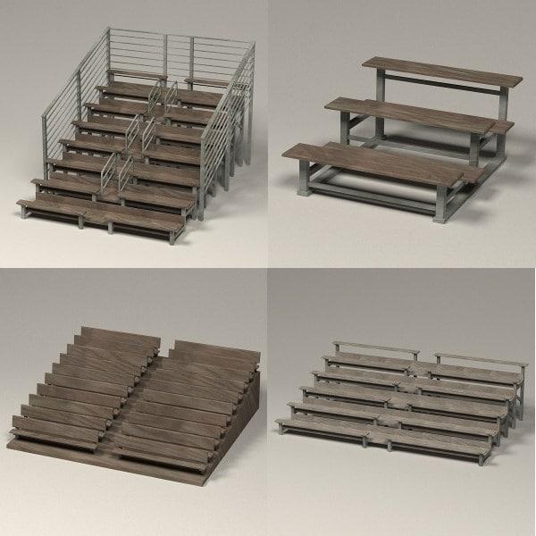stadium benches 3d obj