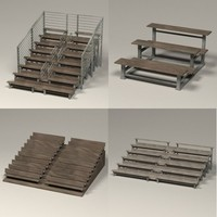 stadium benches 3d obj