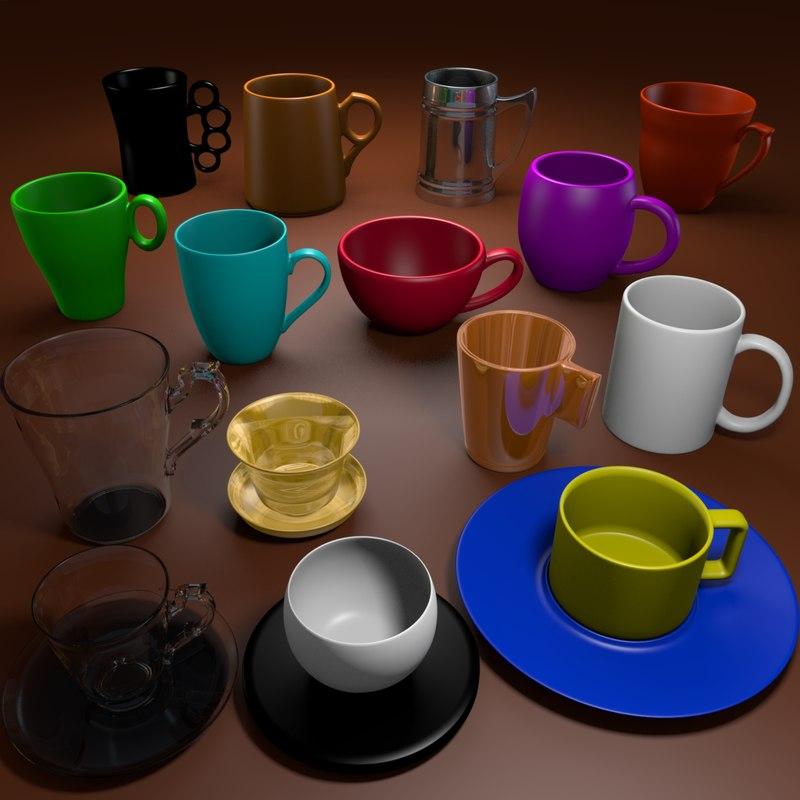 3d tea cups model