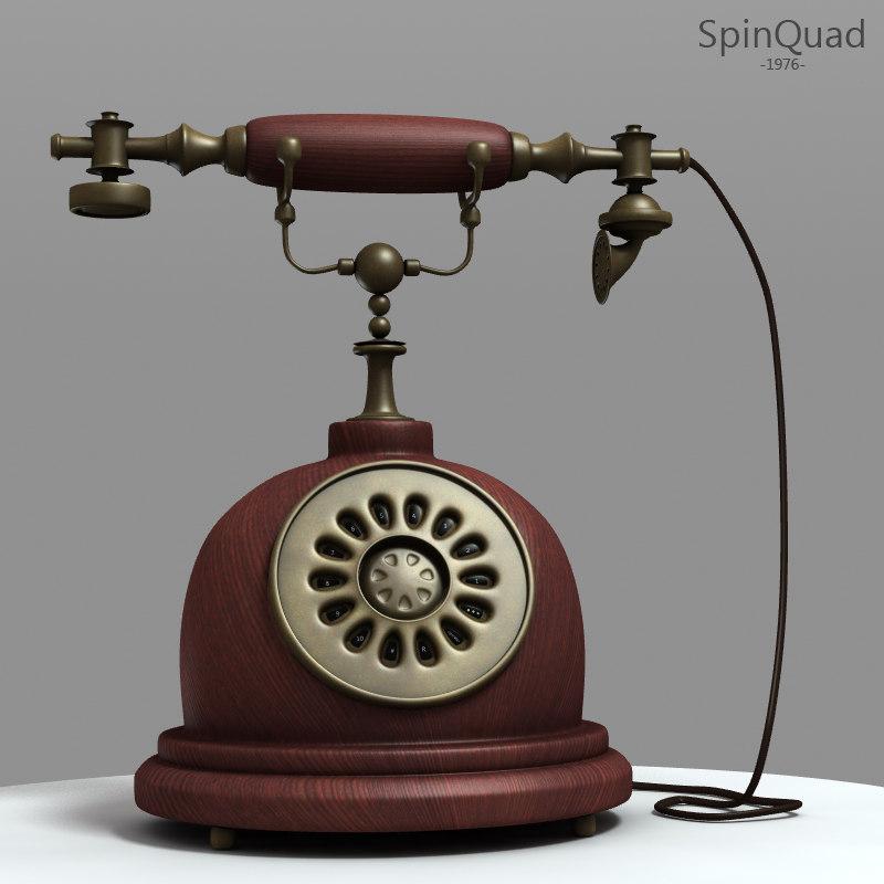 3d obj retro telephone -