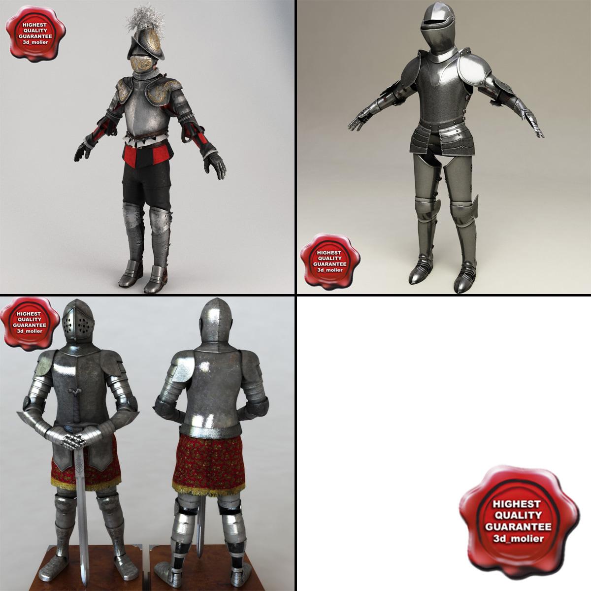 set knight armour 3d c4d