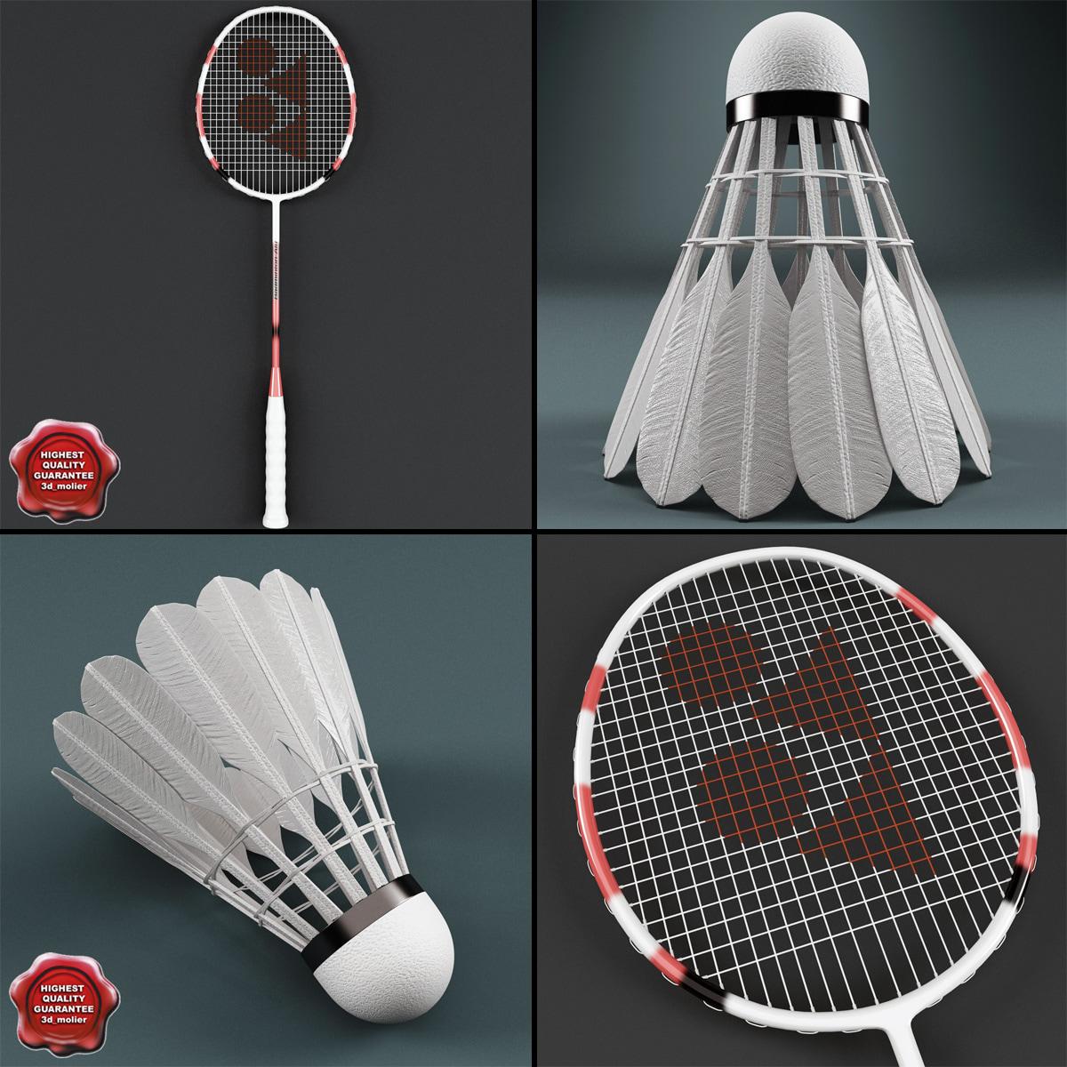 3d model badminton v1 racket shuttlecock