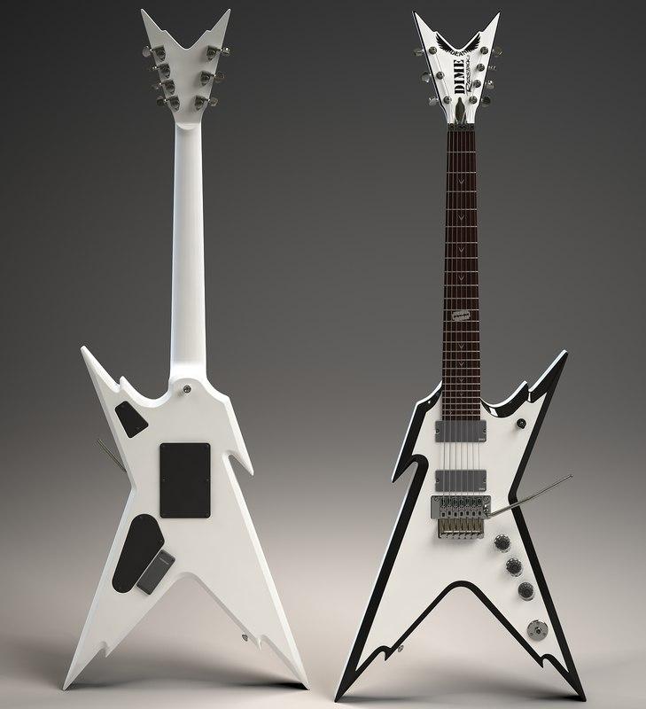 electric guitar dean razorback 3d model