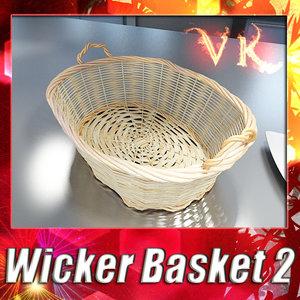 fruit basket wicker 3d model