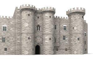 palace knights rhodes castle 3d 3ds